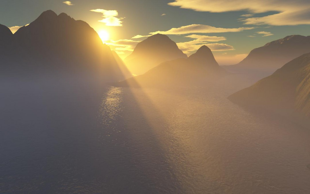 Sunrise_with_crepuscular_rays_through_mountains_(Oct_1,_2006)