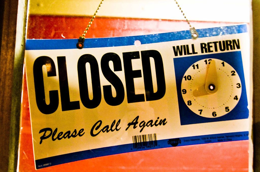 Closed, Will Return Sign