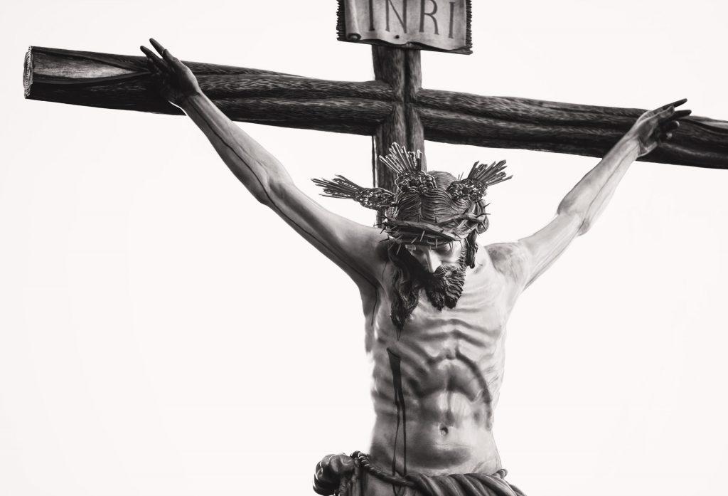 Jesus on cross wearing crown of thorns